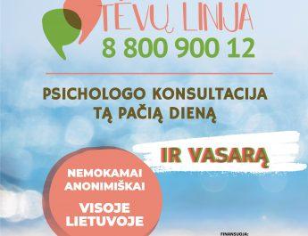 """""""Tėvų linijoje"""" psichologo konsultacija – tą pačią dieną, visoje Lietuvoje, ir vasarą"""